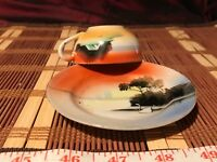 Asian Porcelain Hand Painted Cabin on Lake Sunset, Demi Cup & Saucer