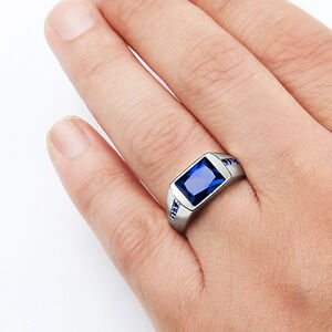 Solid 925 Sterling Silver Mens Sapphire Ring with 8 Natural Gemstone Accents