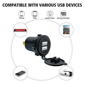4.2A Dual USB Fast Charger W/Switch Socket Power Outlet Adapter Fit For Car Boat