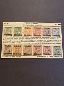 GERMANY WURTTEMBERG 1919 OFFICIAL VOLKSSTAAT OVPTS OVERPRINT  SET OF 12  MH