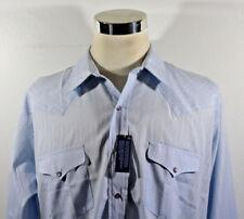 NWT Men's Panhandle Slim Baby Blue Geometric Design Pearlsnaps L/S Shirt Sz XL