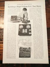 1932 How to Build High Voltage DC Test Meter Electric Electricity Radio Wiring