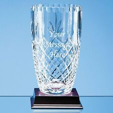 Personalised Engraved 19cm Lead Crystal Vase Retirement Wedding Anniversary