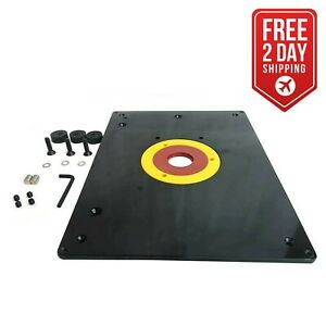 """Big Horn 18101 9-Inch x 12"""" Router Table Insert Plate w/ Guide Pin & Snap Ring"""