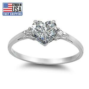 Women's Fashion 925 Sterling Silver Heart Emerald Promise Ring