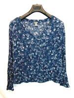 Eddie Bauer XL Dark Blue Pink Floral Shirt V Neck Long Sleeve Rayon Elastic Hem