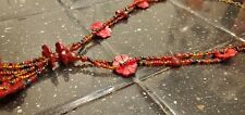 Womens Fashion Wood Red flower Bead necklace