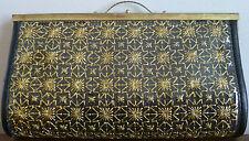 Vintage Mid-Century Black & Gold Vinyl Purse Circa 1960 Handbag Plastic