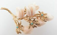 .Estate Large 14ct gold Angle skin Coral & Turquoise Brooch Val $4800