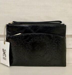 NWT Hobo International Noa Leather Wristlet Clutch Wallet Embossed Black RP $98