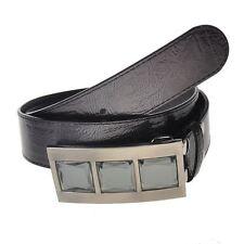 Élégant Carré Gemme Pierre simili cuir boucle ceinture, gris foncé