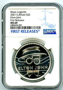2021 2PD GREAT BRITAIN 1OZ SILVER VERSION ELTON JOHN NGC MS69 FIRST RELEASES