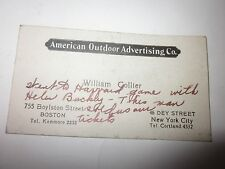 Vintage American Outdoor Advertising Company Business Card Boston MA