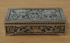 Metal Silver Coloured Embossed Decorative Jewellery Trinket Box velvet lined