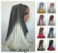 High Quality! Cotton Jersey Scarf Ombre Muslim Hijab Head Cover 180 x 65 cm