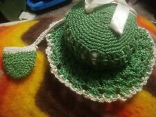 Vintage Crocheted Hand Made Tomato Pin Cushion Hat w/ Tiny Pouch