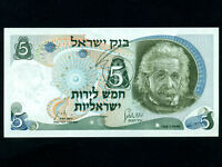 Israel:P-34,5 Pounds,1968 * Albert Einstein * UNC * RED Serial # *