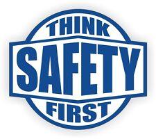 Think Safety First Hard Hat Decal - Helmet Sticker Labels Safety Worker Member