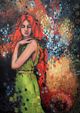 Beautiful Oil painting nice young GIRL standing & RED hair free shipping cost