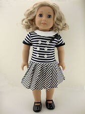 Cute Navy and White Striped Summer Dress Made to Fit the 18 Inch Doll Like the A