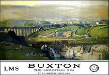 Art Ad Buxton The Mountain Spa LMS  Train Rail Travel  Poster Print