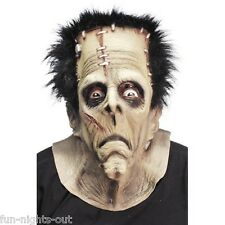 Unisex Mens Womens Monster Frankenstein Mask & Hair Halloween Horror Scary