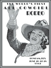 1942 World's First All Cowgirl Rodeo Bonham, TX  Vintage Pin Up Gal!