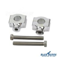 "Aluminum Motorcycle 1"" Handlebar Low Riser Clamps For Harley Cafe Racer Silver"
