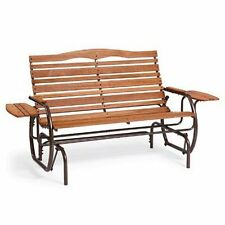Patio Glider with Trays Country Garden Double Porch Back Yard Deck Swing, Bronze