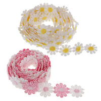 "2x3Yd 1"" Embroidered Guipure Lace Daisy Motif Sewing Flower Applique Ribbon"