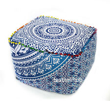 "22"" Square Mandala Blue Ottoman Pouf Cover Footstool Indian Handmade Home Decor"