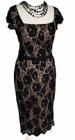 LAURA ASHLEY Black Lace Midi Dress Sz 10 UK Straight Pencil party / b41