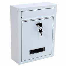 White Lockable Wall Mounted Letter Post Mail Box Large Postbox Letterbox Mailbox
