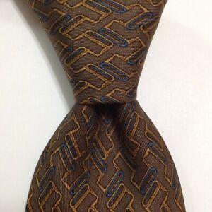 HERMES 930 HA Mens 100% Silk Necktie FRANCE Luxury Geometric Brown/Blue/Gold GUC