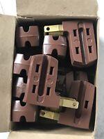 6 Vintage GE General Electric  Unbreakable 3 Way Cube Tap Plug Adapter NOS