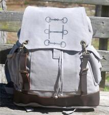 """Snaffle Bits Equestrian 16"""" Leather Accent Heavy Canvas Backpack Grey  Horse Bit"""
