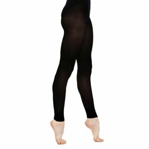 SILKY FOOTLESS DANCE TIGHTS Girls Sizes Soft Microfibre Black or Tan 12% Spandex
