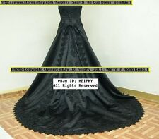 Stock Nwt RQ Sexy* Emb* Black Gothic Wedding Gown Dress Plus Size 20 Sz4-42* 61b
