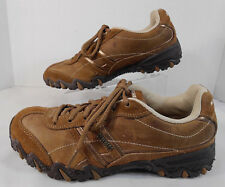 SKECHERS Womens Athletic Walking Shoes Sz 6 Leather Synthetic Lace Up Browns