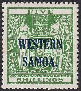 Samoa 1945 KGVI Postal Fiscal 5sh Green Mint SG208 cat £21 toning
