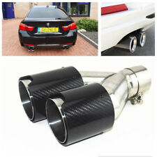 Car SUV Real Carbon Fiber+Stainless Steel Exhaust Dual Pipes End Tips Right Side