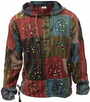 Mens Stripe Patchwork Grandad Hoodie Shirt Colorful Festival Light Shirt