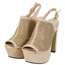 Womens Ladies Ankle Strap Platform Chunky Block Heel Party Sandals Shoes Size(6)
