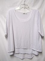 CATO top shirt blouse L 10/12 Bust 44 white 2 layers'liquid fabric' Career Wear