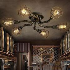 Industrial 6-Light Retro Steampunk Ceiling Lights Lamp Fixture Bass Finished Bar