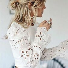 ZARA WHITE CONTRAST EMBROIDERED SLEEVE SHORT SWEATER TOP BLOUSE, SIZE L / UK 12