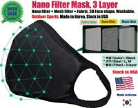 Nano Filter Mask, Sports, 3D Face Shape, Breathable, Washable, Stock in USA