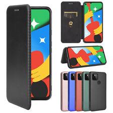 For Google Pixel 5 4 3A 3 XL 4A 5G Luxury Carbon Fiber Leather Flip Case Cover