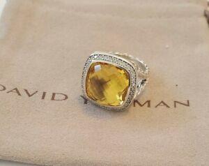 David Yurman Sterling Silver Albion 14mm W Lemon Citrine & Diamonds Ring 7