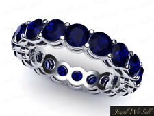 Real 6.10Ct Round Sapphire Shared Prong Gallery Eternity Band Ring 18k Gold AAAA